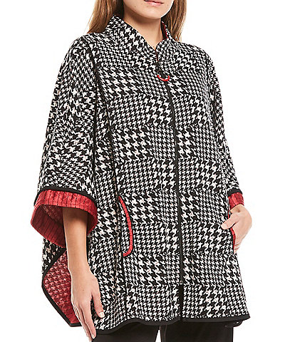 IC Collection Mandarin Collar Zip Front Houndstooth Poncho