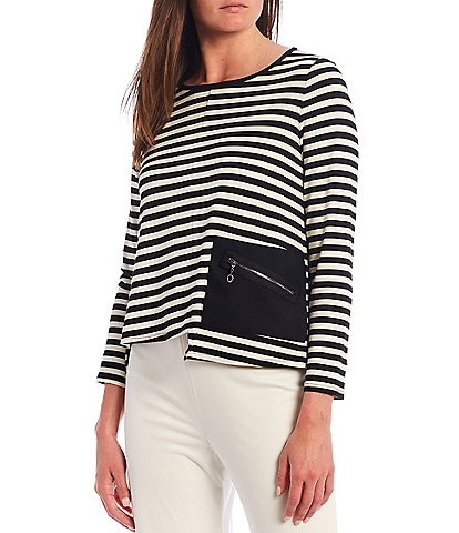 IC Collection One Side Pocket Asymmetrical Stripe Cropped Top