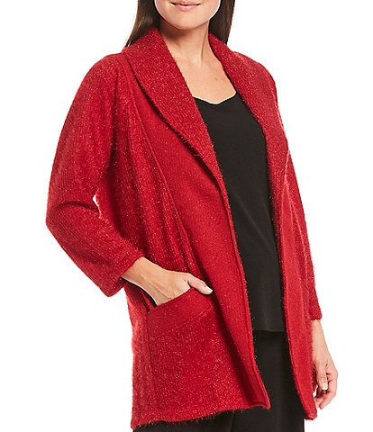 IC Collection Open Front Shawl Collar Fuzzy Cardigan