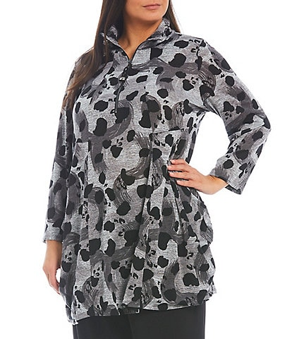 IC Collection Plus Size Animal Print Knit Jersey Quarter Zip Long Sleeve Side Pocket Tunic