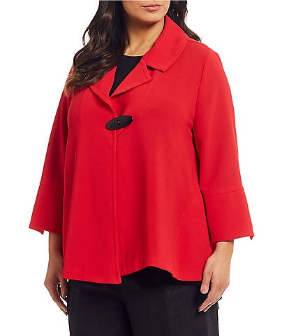 IC Collection Plus Size Asymmetrical Notch Collar Jacket