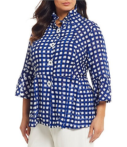 IC Collection Plus Size Checkered Button Front Jacket