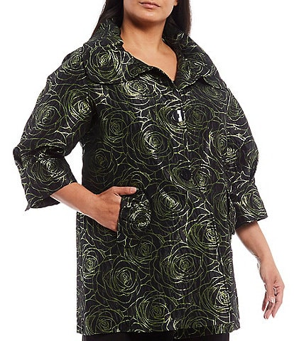 IC Collection Plus Size Floral A-Line 3/4 Sleeve Wide Collar Jacket