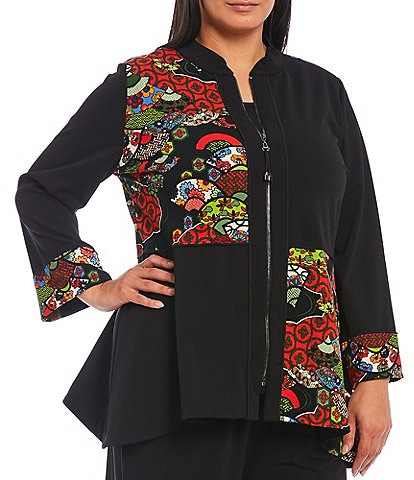 IC Collection Plus Size Floral Block Print Long Sleeve Peplum Jacket