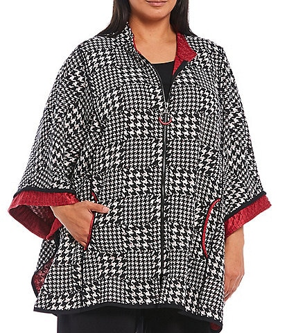 IC Collection Plus Size Mandarin Collar 3/4 Sleeve Zip Front Houndstooth Print Jacket Poncho
