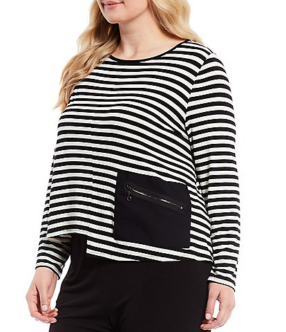IC Collection Plus Size One Side Pocket Asymmetrical Stripe Cropped Top