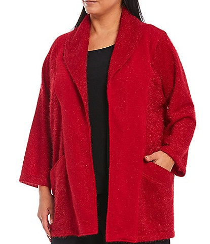IC Collection Plus Size Open Front Shawl Collar Fuzzy Cardigan Jacket