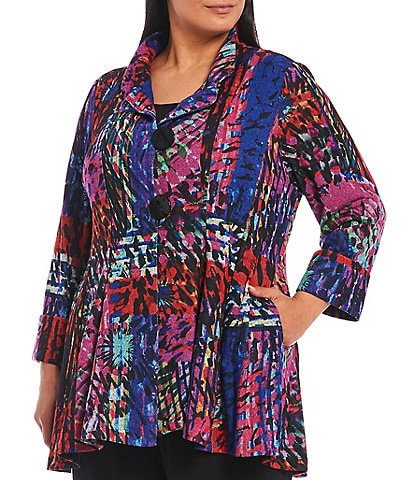 IC Collection Plus Size Rainbow Print Stretch 3 Button Stand Collar Jacket