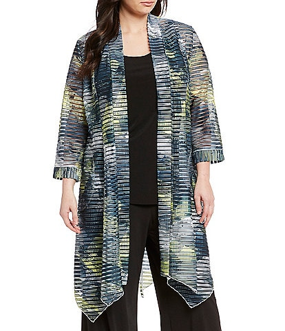IC Collection Plus Size Ribbed Knit Open Front Duster Cardigan
