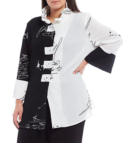 IC Collection Plus Size Slightly Flared Sleeve Wire Collar Contrast Sketch Jacket