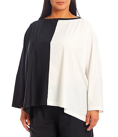 IC Collection Plus Size Stretch Woven Color Block Boat Neck Long Sleeve Boxy Top