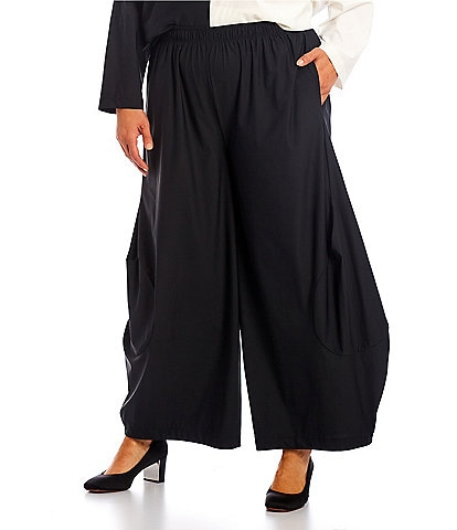 IC Collection Plus Size Stretch Woven Wide Leg Lantern Pull-On Pants