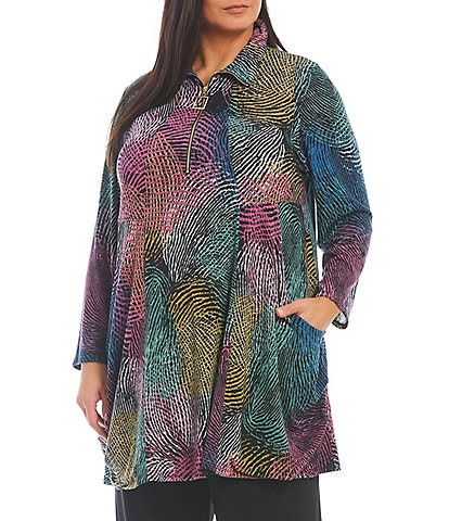 IC Collection Plus Size Swirl Print Knit Jersey Quarter Zip Long Sleeve Side Pocket Tunic