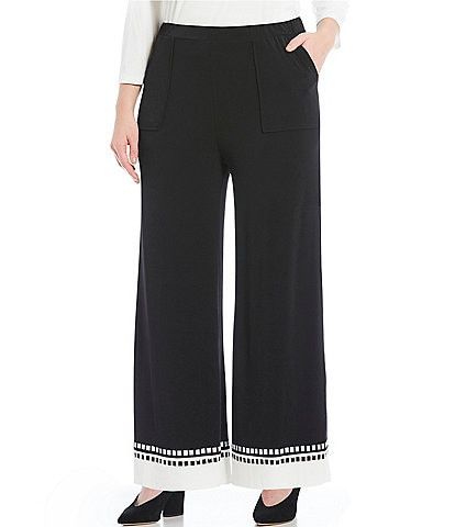 IC Collection Plus Wide Leg Contrast Hem Pull-On Pants