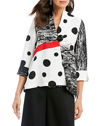 e86b9c87b82 IC Collection Polka Dot Colorblock Button Front Jacket