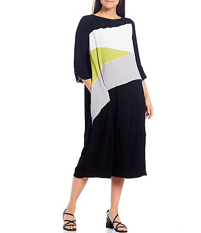 IC Collection Pucker Color Block 3/4 Sleeve Midi Shift Dress