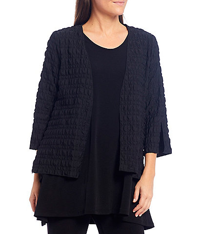 IC Collection Pucker Cropped Merrow Edge 3/4 Sleeve Open Front Jacket