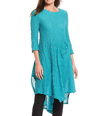 IC Collection Pucker Lace Asymmetric Hi-Low Tunic