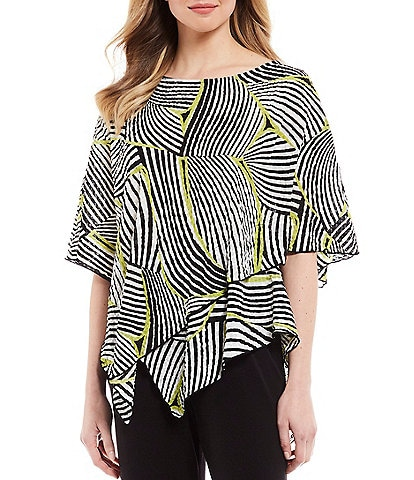 IC Collection Pucker Stripe Leaf Print Elbow Sleeve Asymmetric Hem Poncho Top