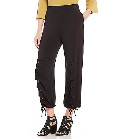 IC Collection Pull-On Solid Button Accent Hem Detail Pants
