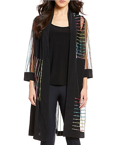 42751cd7c3 IC Collection Rainbow Mesh Long Open Front Cardigan. color swatch