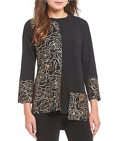 IC Collection Rose Print Color Blocked Tunic