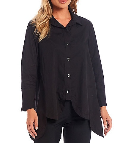 IC Collection Scallop Hem Button Front Blouse