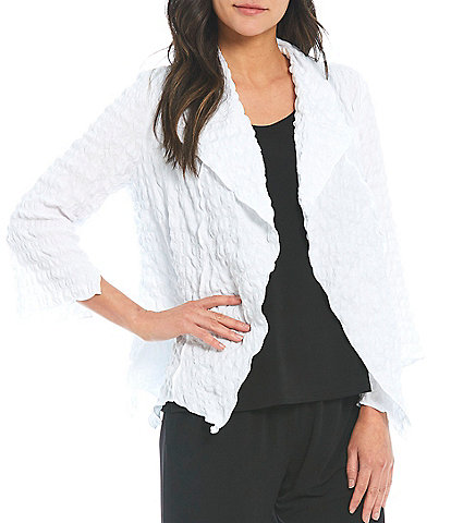IC Collection Shawl Collar Open Front Asymmetric Hem 3/4 Sleeve Jacket