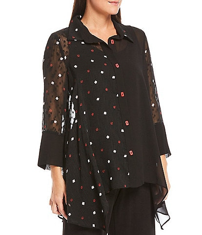 IC Collection Sheer Dot 3/4 Sleeve Asymmetric Button Front Blouse