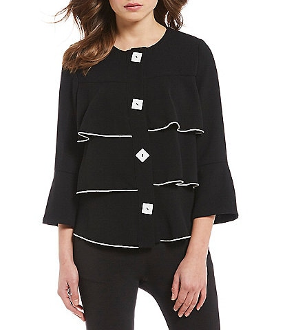 IC Collection Square Buttons Piping Ruffle Jacket