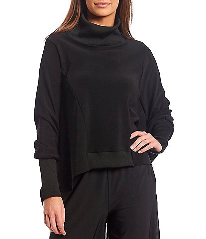 IC Collection Stretch Knit Long Sleeve Funnel Neck Poncho Top