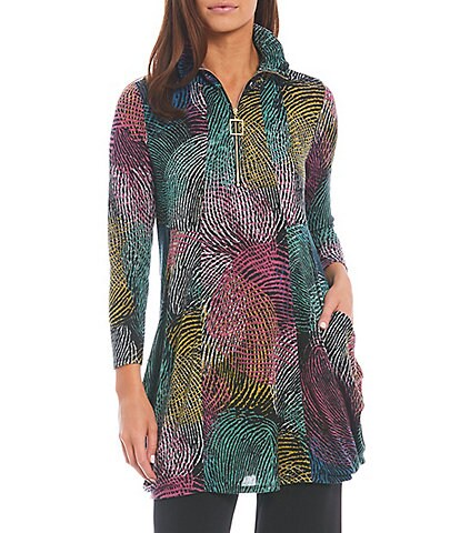 IC Collection Swirl Print Knit Jersey Adjustable Wire Point Collar 3/4 Sleeve Side Pocket Tunic