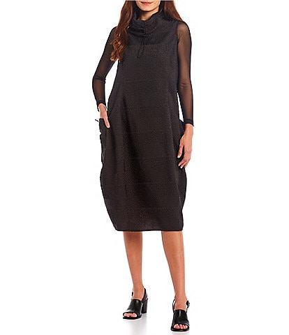 IC Collection Textured Woven Side Pocket Balloon Stand Collar Sleeveless Midi Dress