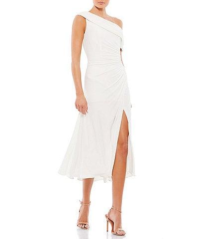 Ieena for Mac Duggal Asymmetric One Shoulder Sleeveless Jersey Dress