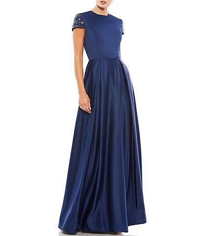 Ieena for Mac Duggal Cap Sleeve Crew Neck A-Line Gown