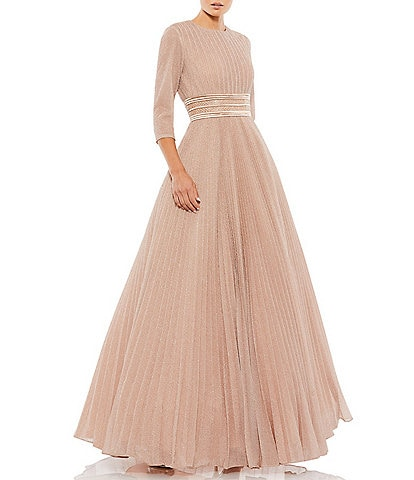 Ieena for Mac Duggal Crew Neck 3/4 Sleeve Shimmering Ball Gown