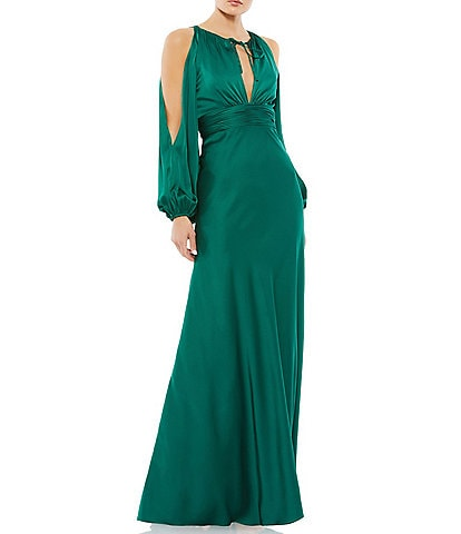 Ieena for Mac Duggal Keyhole Neck Long Sleeve Cold Shoulder Empire Waist Gown