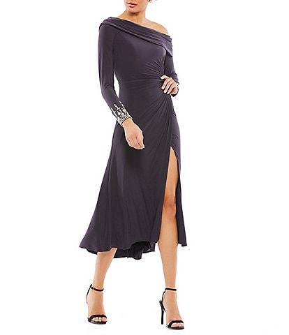 Ieena for Mac Duggal Long Sleeve Asymmetrical Neck High Slit Dress
