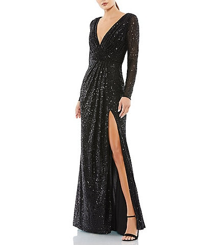 Ieena for Mac Duggal Long Sleeve Deep V-Neck Sequin A-Line Gown