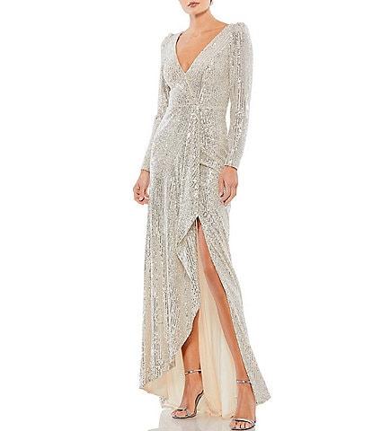 Ieena for Mac Duggal Long Sleeve V-Neck Slit Sequin Wrap Gown