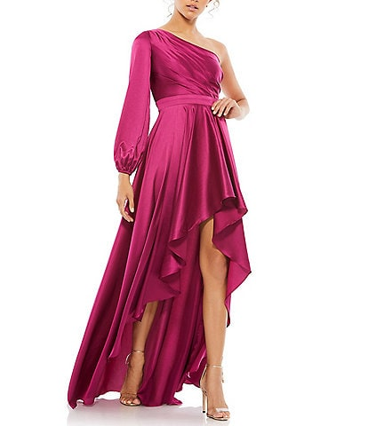 Ieena for Mac Duggal One Shoulder A-Line Long Sleeve High-Low Gown
