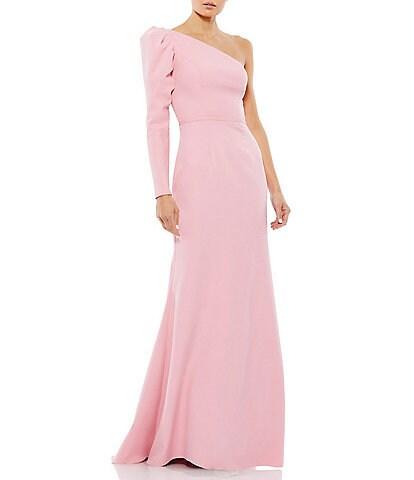 Ieena for Mac Duggal One Shoulder Long Puff Sleeve Gown