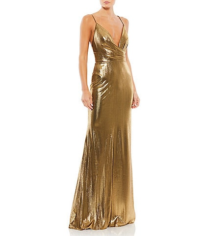Ieena for Mac Duggal Plunging V-Neck Sleeveless Sheath Gown