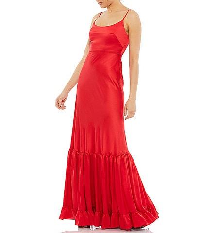 Ieena for Mac Duggal Scoop Neck Tiered Hem Sleeveless A-Line Satin Gown