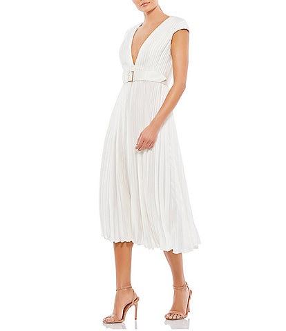 Ieena for Mac Duggal V-Neck Cap Sleeve Lined Pleated A-Line Midi Dress