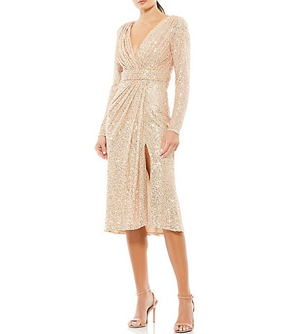 Ieena for Mac Duggal V-Neck Long Sleeve Sequin Dress