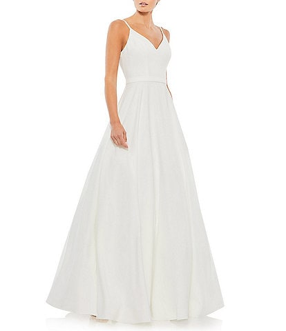 Ieena for Mac Duggal V-Neck Sleeveless A-Line Fully Lined Ball Gown