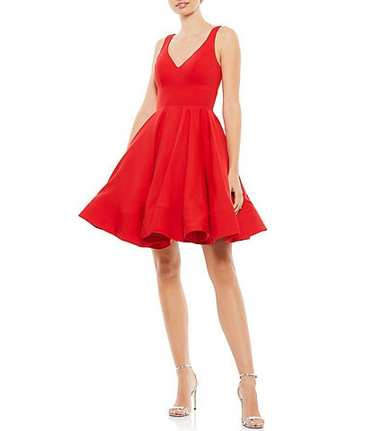 Ieena for Mac Duggal V-Neck Sleeveless Fit and Flare Cocktail Dress