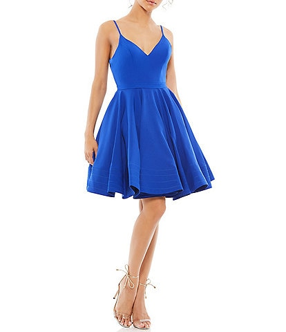 Ieena for Mac Duggal V-Neck Sleeveless Fit and Flare Dress