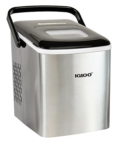 Igloo 26-Pound Stainless Steel Automatic Self-Cleaning Portable Countertop Ice Maker Machine With Handle